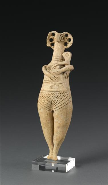 Femme nue tenant un enfant, période :  bronze récent, 1600-1100 av. JC, Levant antique, lieu de découverte : Tyr