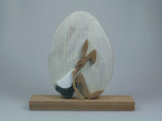 Ostereier - Ei aus Holz - Hase im Ei - ein Designerstück von mw-holzkunst bei DaWanda