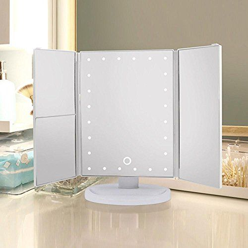 Go2buy Vanity Makeup Mirror Trifold 21 Led Lighted With Touch