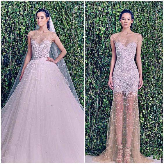 """""""Lucia"""" crystal embellished illusion neckline and bodice with detachable tulle skirt from the Zuhair Murad Fall 2014 Wedding Collection!"""