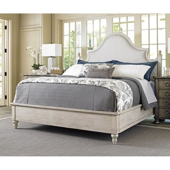 Lowest price online on all Lexington Oyster Bay Arbor Hills Upholstered Queen Bed in Pearl - 01-0714-143c