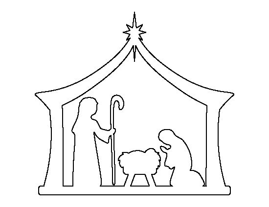 Nativity pattern. Use the printable outline for crafts, creating stencils, scrapbooking, and more. Free PDF template to download and print at http://patternuniverse.com/download/nativity-pattern/: