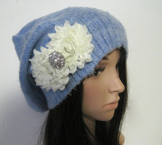 Light Blue Recycled Sweater Slouch Beanie With by theraggedyrose