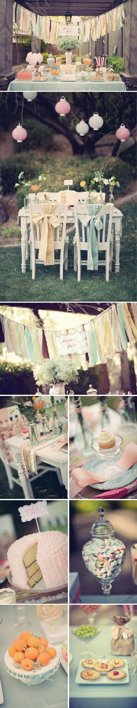 Love this candy bar: Vintage Baby Shower Ideas, Baby Shower Chair Decorations, Vintage Baby Girl Shower Ideas, Vintage Baby Showers, Outdoor Baby Shower, Baby Shower Ideas Vintage, Vintage Babyshower Ideas, Party Idea