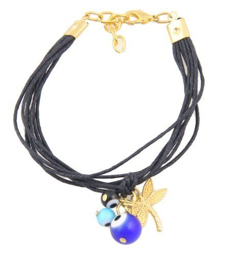 "Multistrand Black Evil Eye Bracelet with Golden Dragonly Charm StarShine Jewelry. $9.98. Length: 6.5"" - 8"". Made with multistrand black cords. Accented with golden dragonfly and glass evil eye beads. Comes in resealable bag for adequate storing. Lobster clasp closure"