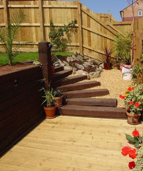 Patio decking railway sleeper steps garden decorating for Garden decking ideas pinterest