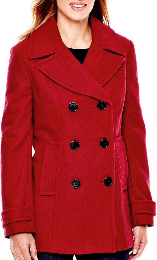 St Johns Bay St Johns Bay Wool Blend Pea Coat Tall | Coats St