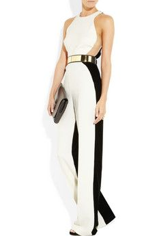 Women's White Anna Stretch Cady and Velvet Jumpsuit | White ...