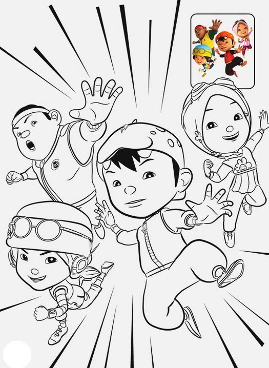 12 Printable Boboiboy Coloring Pages For Kids Dengan Gambar