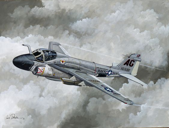 """""""""""Intruder Weather"""" The first squadron to fly the A-6 Intruder in combat was VA-75, in 1965. This is the A-6A of Lt Don Boecker on a typical all-weather mission."""""""