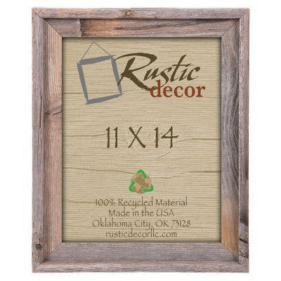 "RusticDecor Barn Wood Reclaimed Wood Signature Picture Frame Size: 14"" H x 11"" W x 2"" D"