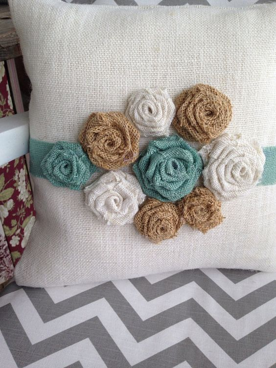 Burlap flower pillow by thelittlegreenbean on Etsy
