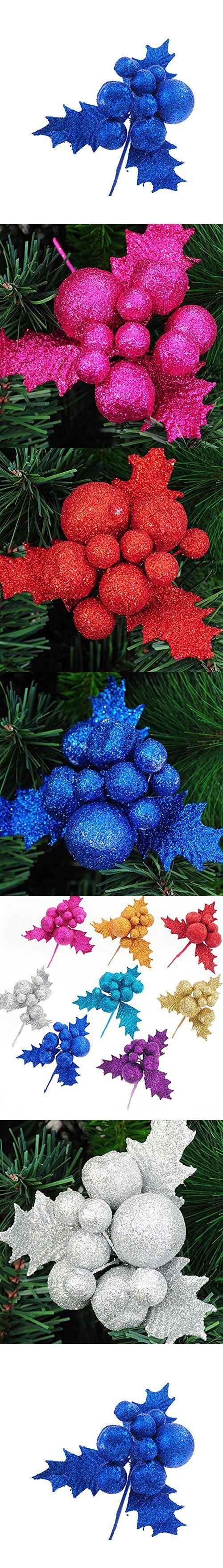 Deercon Glitter Artificial Wedding Christmas Leaves Baubles XMAS Tree Wreaths Decor Ornament(Blue)