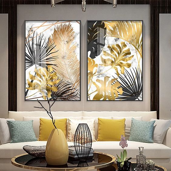 Golden Leaf Canvas Wall Art Painting Wall Art Decor Wall Art Pictures Living Room Pictures
