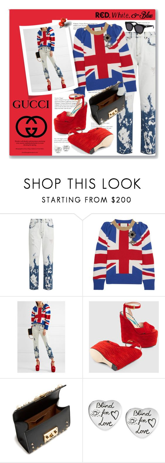 """""""Red, White And Blue Gucci"""" by leanne-mcclean ❤ liked on Polyvore featuring Gucci"""
