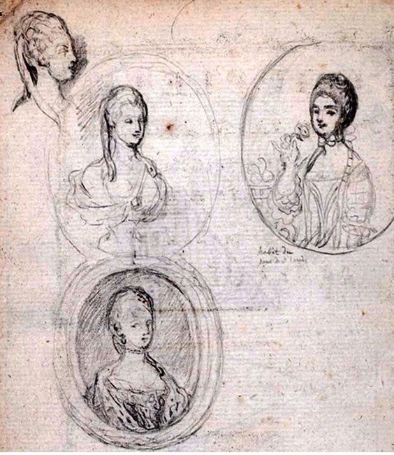 Esketches  de María Antonieta para un libro que se hizo a raíz de su Matrimonio con el Delfín Luis Augusto