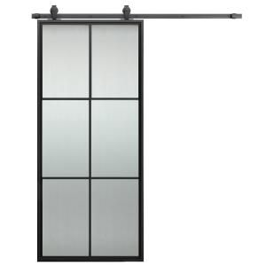 Truporte 36 In X 84 In Iron Age Gray Mdf Frosted Glass 5 Lite Design Sliding Barn Door With Rustic Hardware Kit Bd062w01ia5tge36084 The Home Depot Interior Barn Doors Glass Barn Doors Barn Door