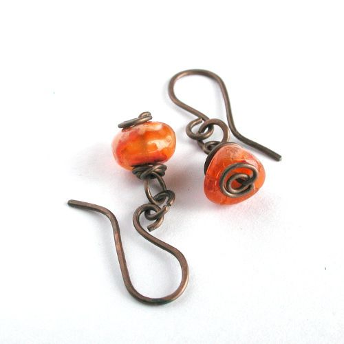 Wire Wrapped Earrings | Wire Wrapped Pebble Earrings, Orange Agate, Antiqued Copper
