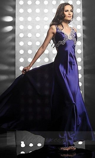 V-neck Taffeta Jasz 4067,Long Blue Prom Dresses