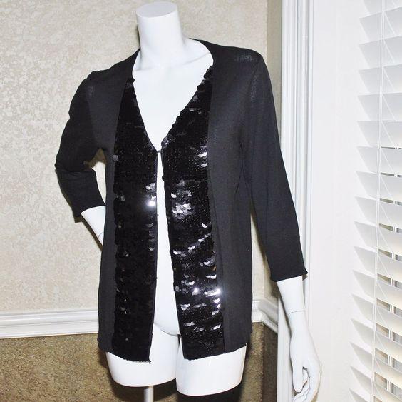 Bid $9 Logo Instant Chic #LoriGoldstein Sequin Cardigan Sweater M ...