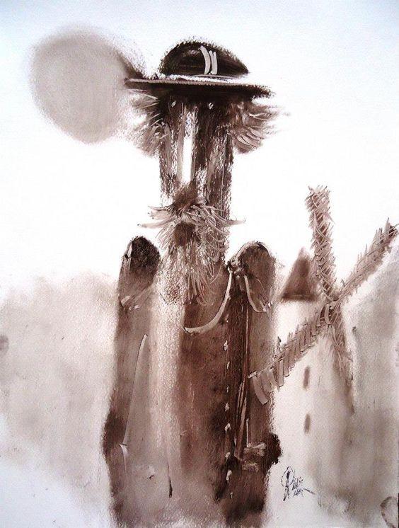 ¨Quijote con molino¨ De la serie Quijotes de Ricardo Perez Alcala oleo s. papel