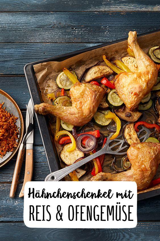 Wurzig Scharfe Hahnchenschenkel Mit Mediterranem Reis Ofengemuse