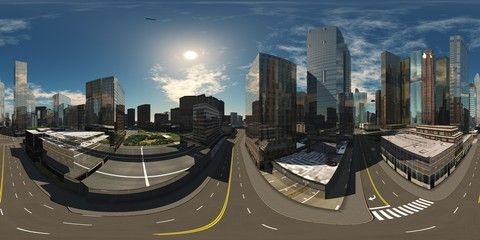 Hdri Environment Map Round Panorama Spherical Panorama Equidistant Projection Panorama 360 Modern City At Sunri In 2020 Environment Map Panorama 360 Modern City