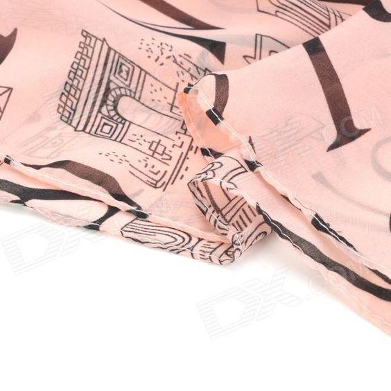 Alphabet Letters Pattern Fashion Silk Scarf Shawl - Dark Salmon