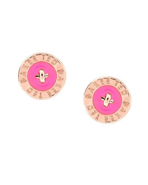 Enamel button stud earrings - Mid Pink | Jewellery | Ted Baker UK