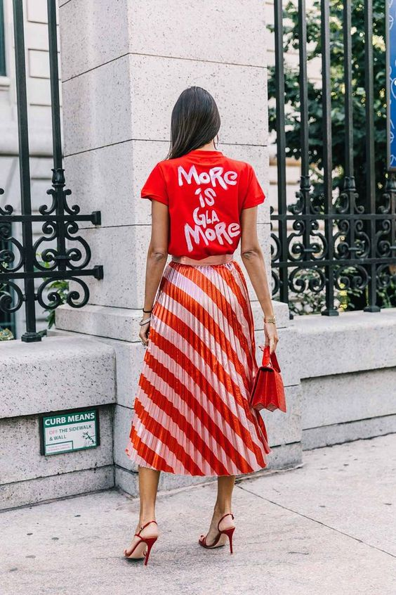 striped & pleated skirt styled with a tee
