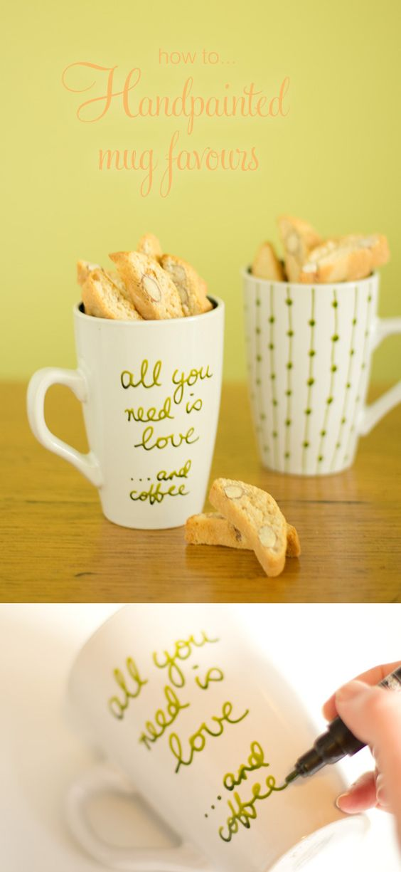 DIY mug wedding favours. So cute and easy! By Alicia Parsons for Polka Dot Made http://www.polkadotbride.com/2013/07/handpainted-mug-diy-wedding-favours/