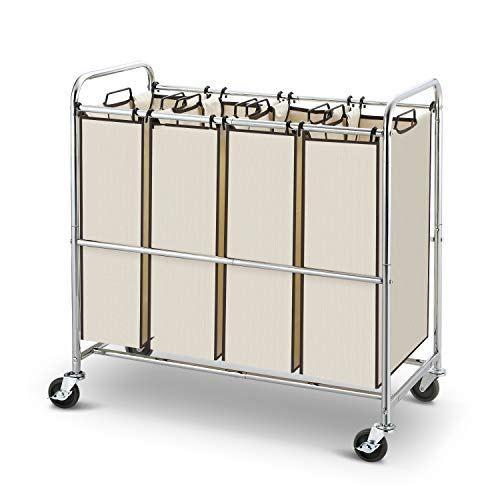 Simple Trending Heavy Duty 4 Bag Laundry Hamper Sorter Laundry