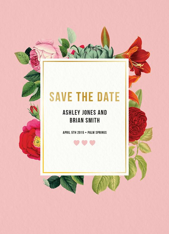 Botanical Save The Date card by Daydream Prints on Postable.com