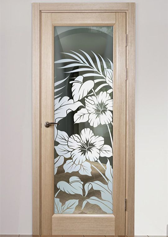 Hibiscus Anthurium 1d Positive Frosted Interior Glass Door In 2020 Glass Doors Interior Door Glass Design Etched Glass Door
