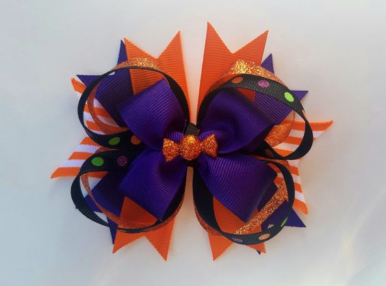 Halloween Hair Bow, Halloween Large Hair Bow, Stacked Hair Bow, Boutique Hair…
