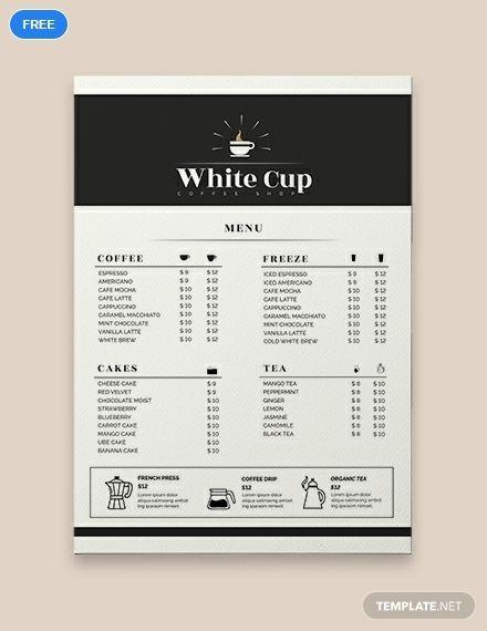 Coffee Menu Template Free Psd Illustrator Word Apple Pages Publisher Template Net Coffee Shop Menu Cafe Menu Design Menu Restaurant