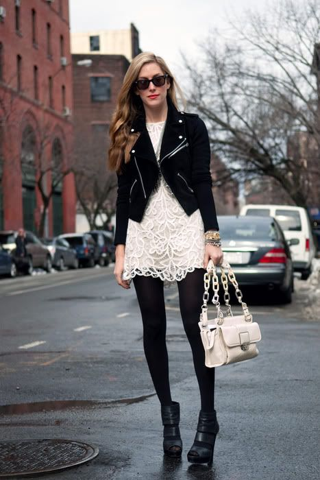 girly meets tough:  the bag is the link between the lace dress & biker-esque jacket