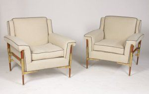 Pair of mid-century modern Italian Club Chairs with cantilevered arms, Circa 1960.