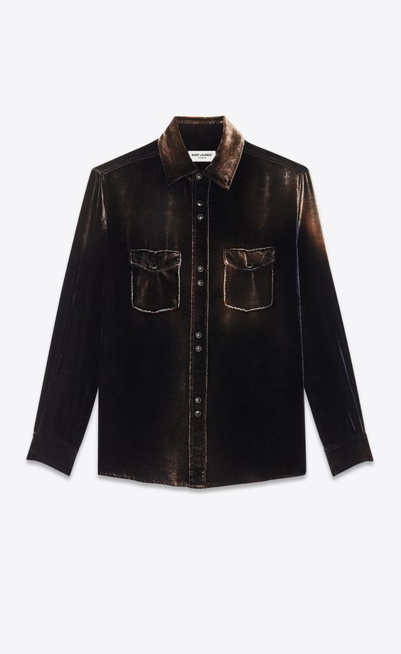 weiboでキムタク着のシャツの色違い。Saint Laurent オーバーサイズシャツ(ブリーチドデヴォレベルベット) | YSL.com