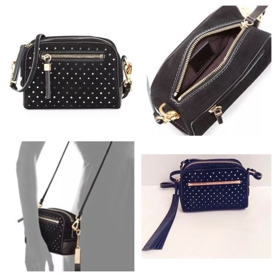 "B Brian Atwood PerforatedBlack Suede Bag B Brian Atwood perforated black suede crossbody bag/shoulder bag.  New with tags.  B Brian Atwood suede crossbody with golden hardware.  Perforated stars reveal metallic leather underlay.  Detachable shoulder strap.  Top zip seals petite silhoutte.  Inside, fabric lining and slip pocket.  4.5""H x 6.5""W x 3""D; 23.5"" strap drop.  No trades. B Brian Atwood Bags Crossbody Bags"