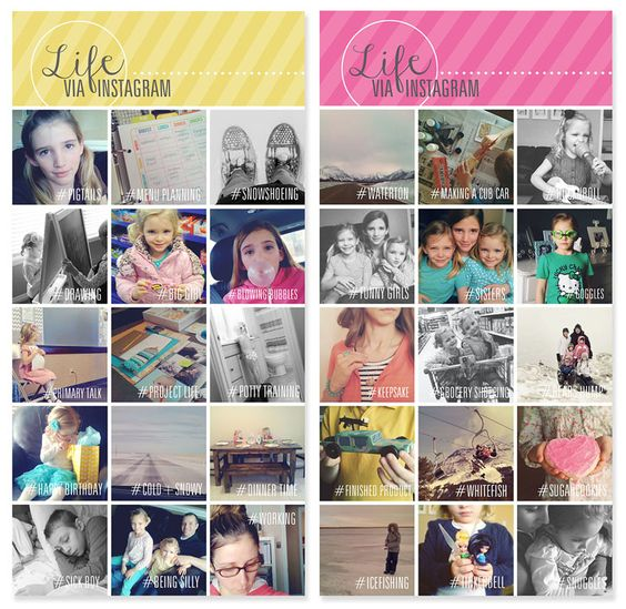 Instagram Collage Templates. #projectlife #instagram #photos