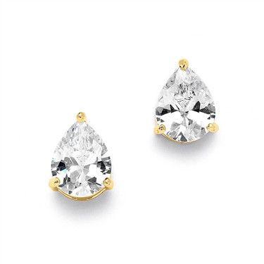 14K Gold 2CT Pear Cut Russian Lab Diamond Solitaire Stud Earrings