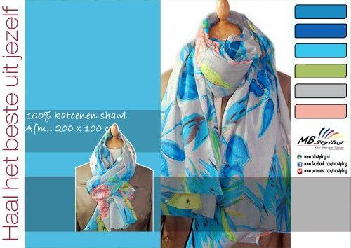 Katoenen shawl in de kleuren grijs, aqua en lime.