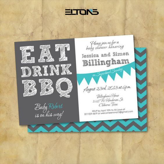 Eat Drink Baby Shower BBQ / Baby Shower Invitations