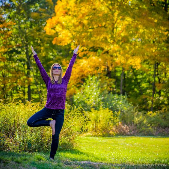 Tree Pose/Vrksasana -- a standing balancing pose that increases focus, strengthens the legs, ankles, core