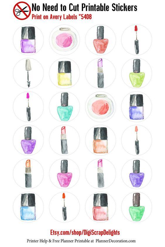INDSD SALE Watercolor Makeup No Cut Needed by DigiScrapDelights  #planner #stickers #decoration #digiscrapdelights #organization