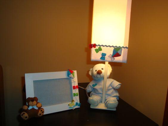 Abajur de mesa e porta retrato  de ursinho