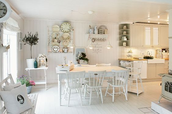 white kitchen, floor, high cabinets lighting Kitchens - ikea k che landhaus