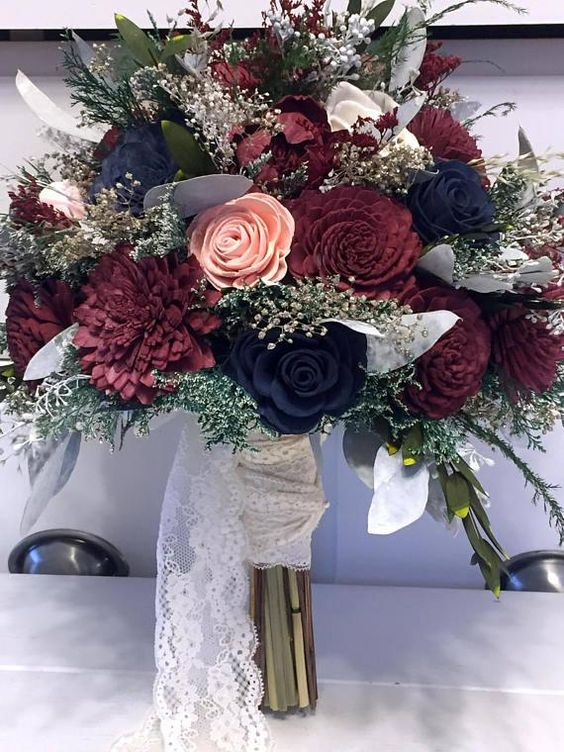 Burgundy Pink Navy Wedding Bouquet made with sola flowers | Etsy