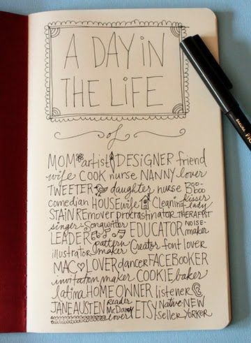 a day in the life - Page 1 of my Sketchbook Project. Nice to see it making it's way around here!